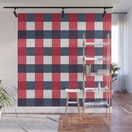 Red White and Blue Gingham Check Pattern Wall Mural