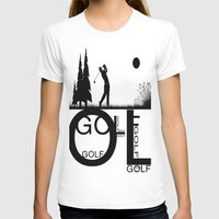 golf T-shirts featuring Golf, golf, golf! b&w by South43