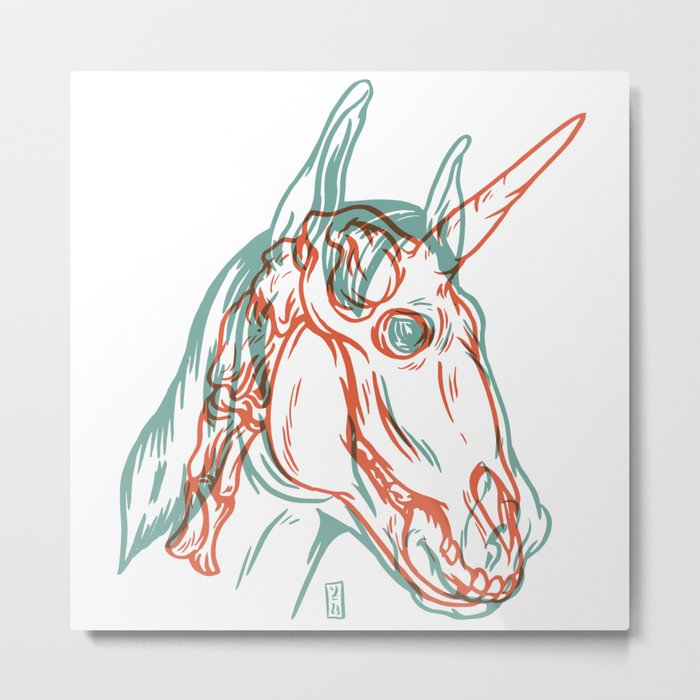 Unicorn Xray Metal Print