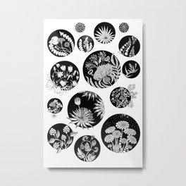 Flowers pattern ink art black and white Metal Print
