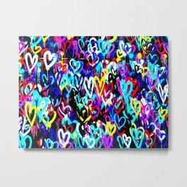 Bright Graffiti Hearts Cool Modern Abstract Love Design Metal Print