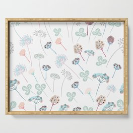 Beautfiul floral vector pattern with rustic flowers Serving Tray