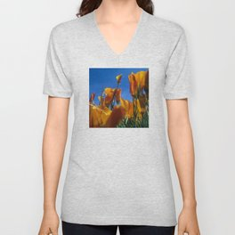 Blooming Wild Poppies Unisex V-Neck