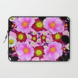 Black Design & Pink Roses Shasta Daisies Art Abstract Laptop Sleeve
