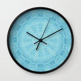 Abstract blue thistle mandala Wall Clock
