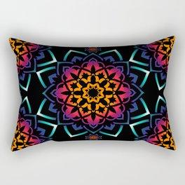 'Bohemian Illusion' Blue Purple Pink Orange Rectangular Pillow