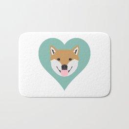 Shiba Love - Heart shiba inu funny dog for dog lovers pet gifts customizable dog meme dog person Bath Mat