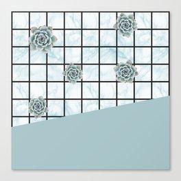 Succulents geometric composition - Mint Green Canvas Print