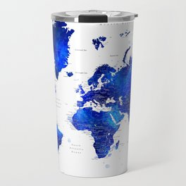 "Navy blue and cobalt blue watercolor world map with cities labelled, ""Carlynn"" Travel Mug"