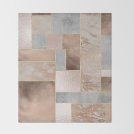 Copper and Blush Rose Gold Marble Quadrangle Geometrical Shapes Throw Blanket