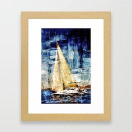 mixed  media sailboat Framed Art Print