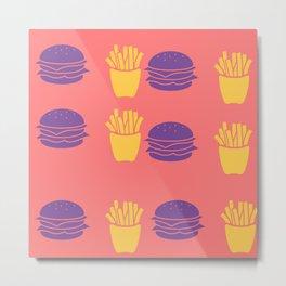 Burger and Fries in Colorful Colors Metal Print