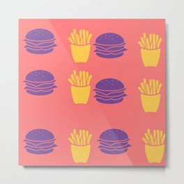 Burger and Fries in Colorful Colors Metal Print