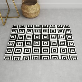 Op art pattern with checkered black white squares Rug