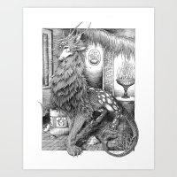 Wolf Dragon Art Print