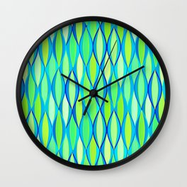 Mid-Century Ribbon Print, Turquoise and Lime Green Wall Clock