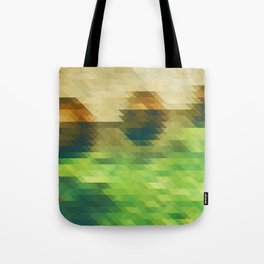 Green yellow triangle pattern, lake Tote Bag