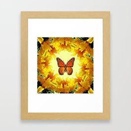 Monarch Butterfly Creany Yellow Sunflower Circle Framed Art Print