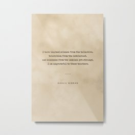 Kahlil Gibran Quote 02 - Typewriter quote on Old Paper - Literary Poster - Book Lover Gifts Metal Print