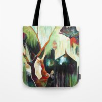 "flora bowley Tote Bags featuring ""Temple Lilies"" Original Painting by Flora Bowley by Flora Bowley"