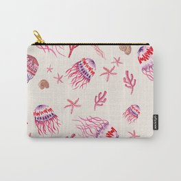 Jellyfish in Magenta Carry-All Pouch
