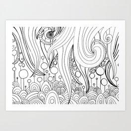 Bubbly Tentacle Doodle Art Art Print