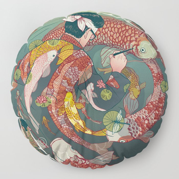 Ukiyo-e tale: The creative circle Floor Pillow
