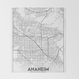 Minimal City Maps - Map of Anaheim, California, United States Throw Blanket