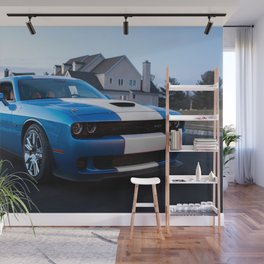 B5 Petty Blue with white stripes Challenger Scat pack Hellcat Wall Mural