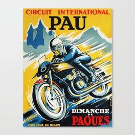 Grand Prix Pau, vintage poster, Motorcycle poster, race poster, Motorcycle poster Canvas Print