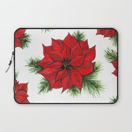 Poinsettia and fir branches pattern Laptop Sleeve