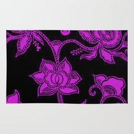 Vintage Floral Dazzling Violet and Black Rug