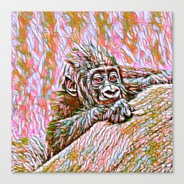ColorMix Gorilla Baby Canvas Print