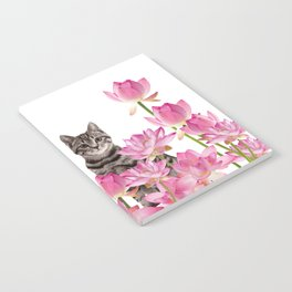 Red and Tiger cat in Lotos Flower Field Notebook