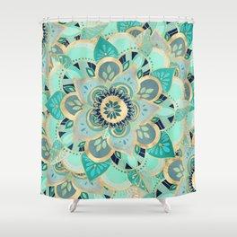 Gilded Emerald Enamel Shower Curtain
