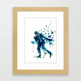 His songs lands on the wings of a butterfly. Framed Art Print