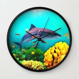 Shark in the water Wall Clock