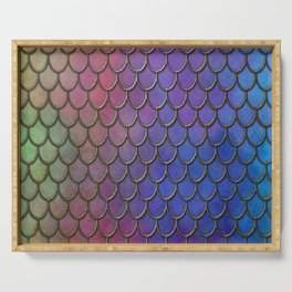 Colorful Gold Mermaid Scales Serving Tray