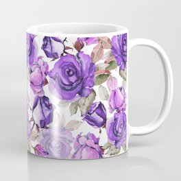 Violet lilac pink watercolor botanical roses floral Coffee Mug