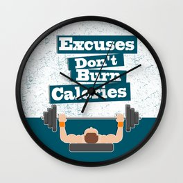 Excuses don't burn calories Gym Fitness Daily Motivating Quotes Wall Clock