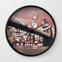 New York City Brooklyn Bridge Lights Wall Clock