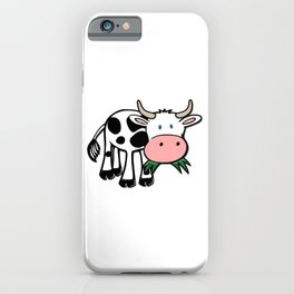 Black and White Steer Munching Grass iPhone Case