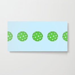 Pickleballs in a row. Green and Blue Metal Print