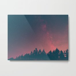 Pink And Black Milky Way Galaxy Forest Metal Print