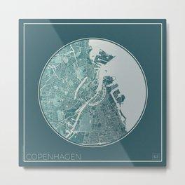 Copenhagen Map Planet Metal Print