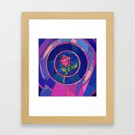 Rose Flower Stained Glass Framed Art Print