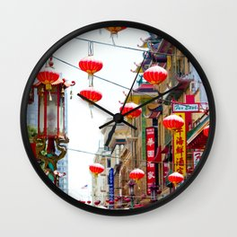 Red Chinese Lanterns in San Francisco Chinatown Wall Clock