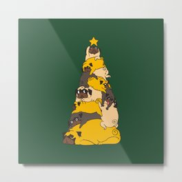 Christmas Tree Pugs Metal Print