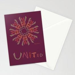 United Mandala with UNITED (s) - Burgundy Stationery Cards