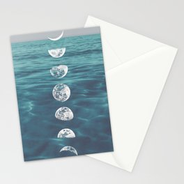Moon on Blue Ocean Stationery Cards